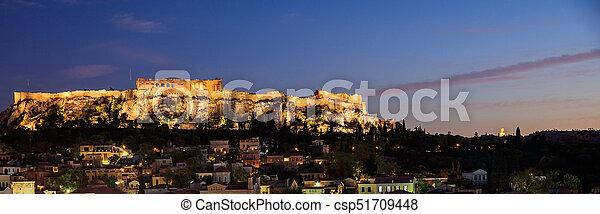 Athens, Greece. Acropolis rock and Plaka - csp51709448