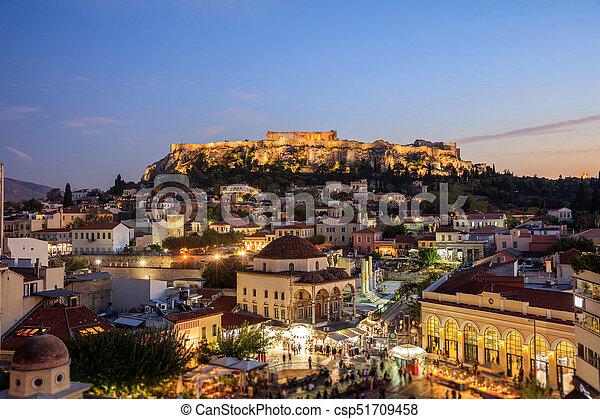 Athens, Greece. Acropolis rock and Monastiraki square - csp51709458
