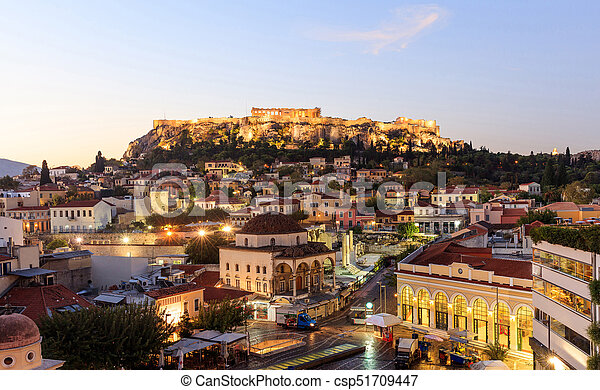 Athens, Greece. Acropolis rock and Monastiraki square early in the morning - csp51709447