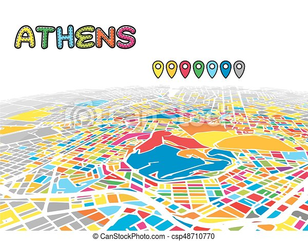 Athens, greece, downtown 3d vector map of famous streets. bright ...