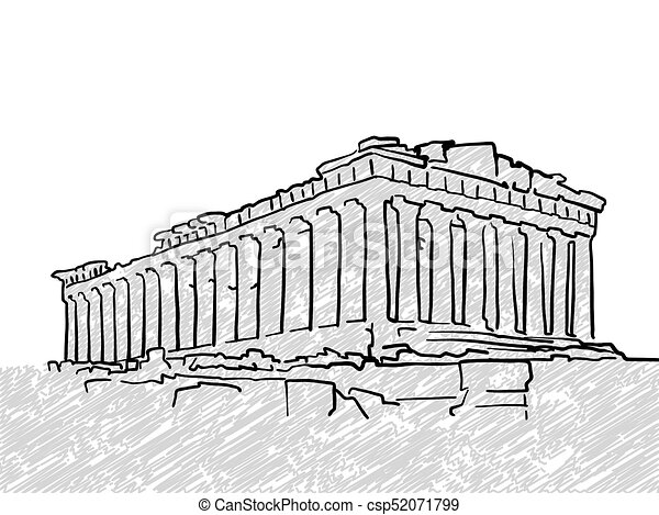 Athens Greece Famous Temple Sketch