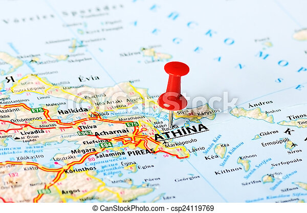 Athens Greece Map Close Up Of Athens Greece Map With Red Pin