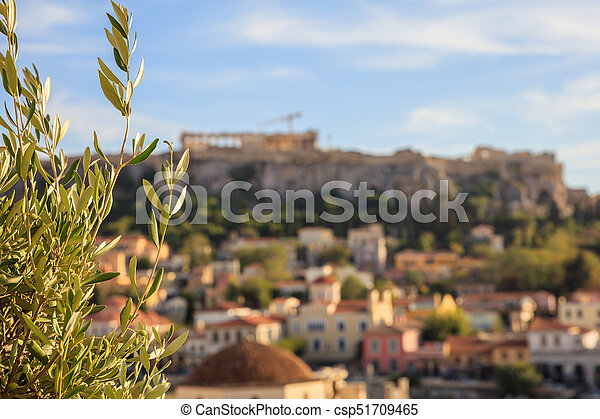 Athens, Greece. Olive tree on Acropolis and Monastiraki abstract background - csp51709465