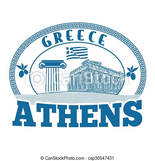 Athens, Greece stamp or label - csp30547431