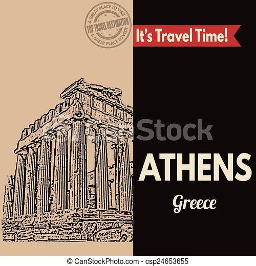 Athens, retro touristic poster - csp24653655