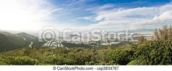 Athens seen from Ymithos Mountain - csp3834787