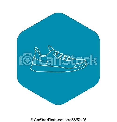athlétique, icône, style, chaussure, contour - csp68359425