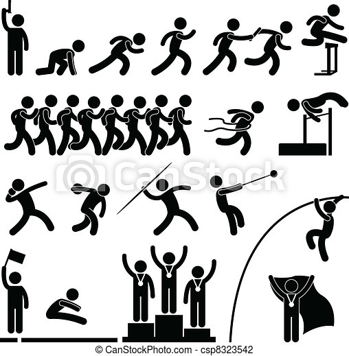 athlétique, piste, jeu, sport, champ - csp8323542