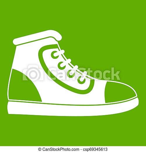 athlétique, vert, chaussure, icône - csp69345613