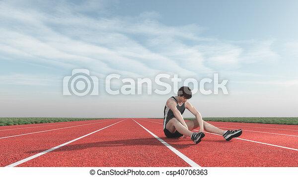 athlet, runway., besiegt - csp40706363