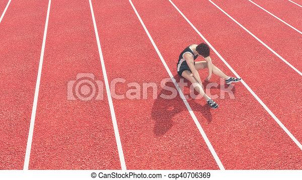 Athlet hat die Startbahn besiegt. - csp40706369