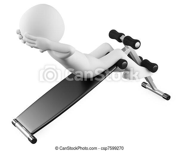 Athlete in a sit-ups bench - csp7599270