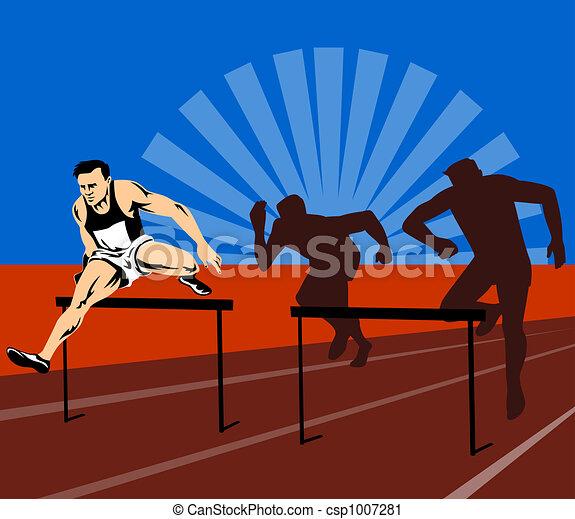 Athlete jumping hurdles. Illustration on athletics.