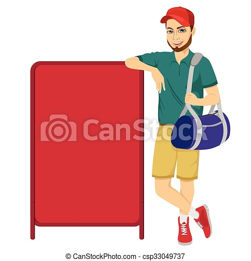 athlete leaning against a red blank board - csp33049737