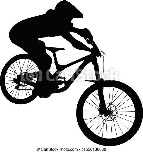 Athlete mtb downhill bike black silhouette.