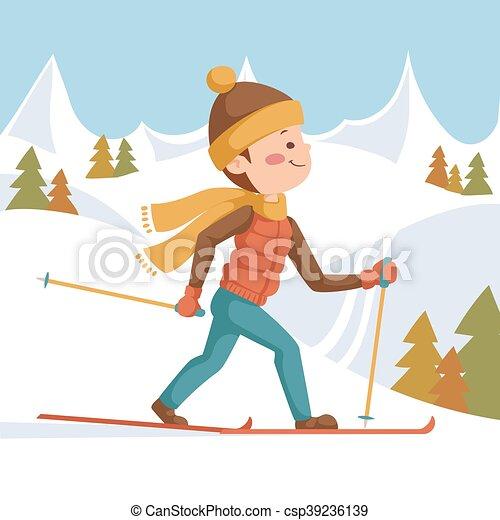 athlete on a ski run. illustration in cartoon style. against