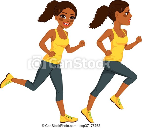 beautiful young african american athlete runner woman on two clip rh canstockphoto com clipart of runner beans clip art of running people