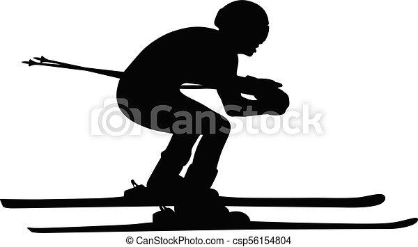 athlete skier in alpine skiing - csp56154804