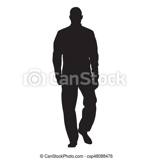 Athlete walking in tracksuit and anorak, front view, man vector silhouette - csp48088476