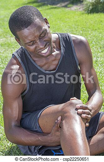 Athlete with knee injury - csp22250651