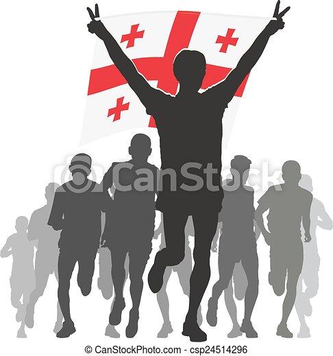 Athlete with the Georgia flag - csp24514296