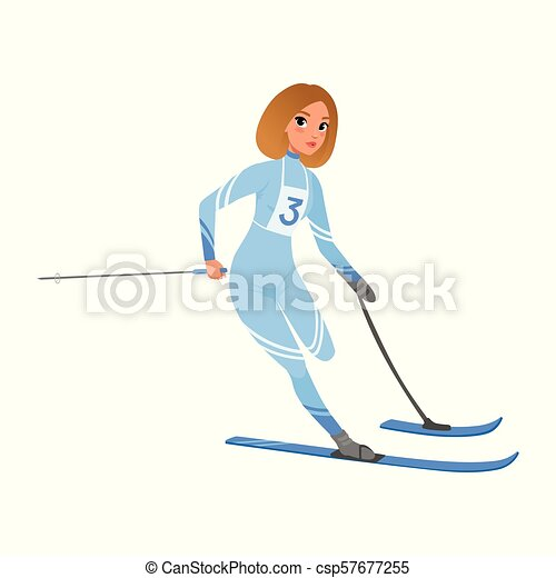 Athlete woman taking part in skiing competition. Sportswoman with physical disabilities. Flat vector design - csp57677255
