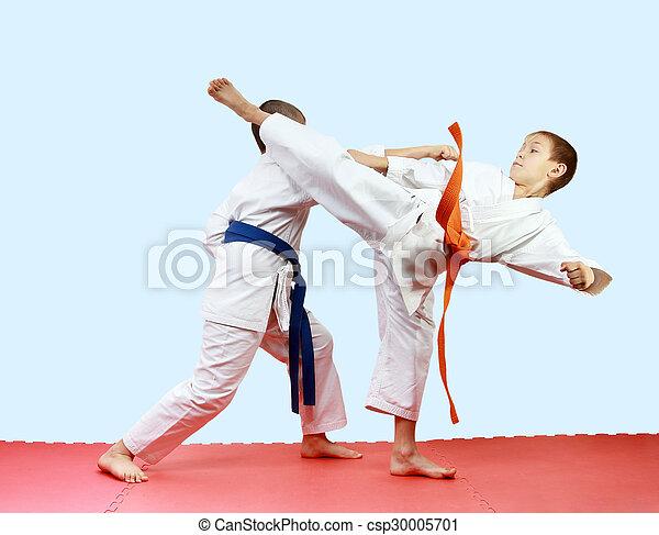 Athletes are training blows legs - csp30005701