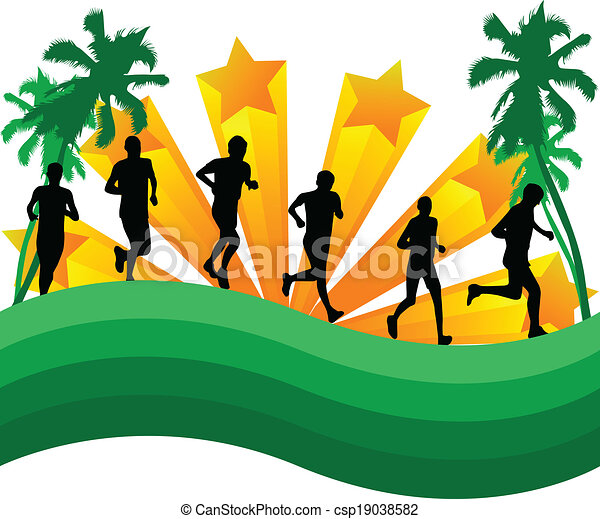 Athletes runners-abstract background with palm trees - csp19038582