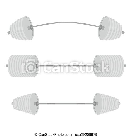 Athletic barbell. Set sport projectile weight lifting in weightlifting, bodybuilding and Powerlifting. Vector illustration - csp29209979