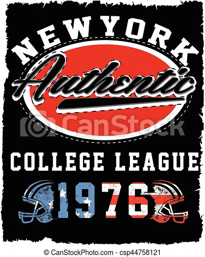 Athletic Dept. New york  Varsity Sport vector print and varsity. For t-shirt or other uses in vector.T shirt graphic - csp44758121