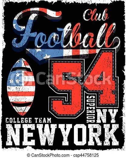 Athletic Dept. New york; Varsity Sport vector print and varsity. For t-shirt or other uses in vector.T shirt graphic - csp44758125