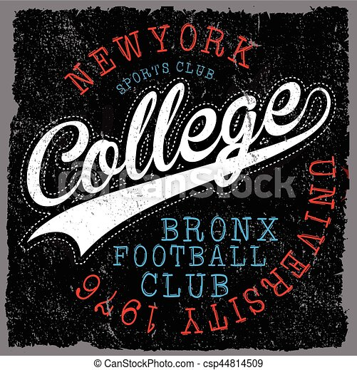 Athletic Dept. New york; Varsity Sport vector print and varsity. For t-shirt or other uses in vector.T shirt graphic - csp44814509