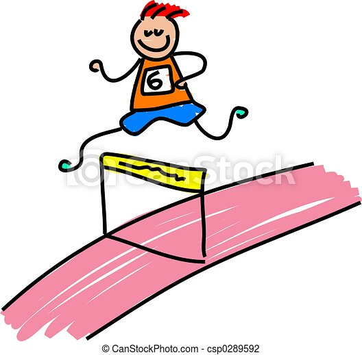 athletic kid little boy running a hurdles race toddler clip rh canstockphoto com  hurdle clipart free