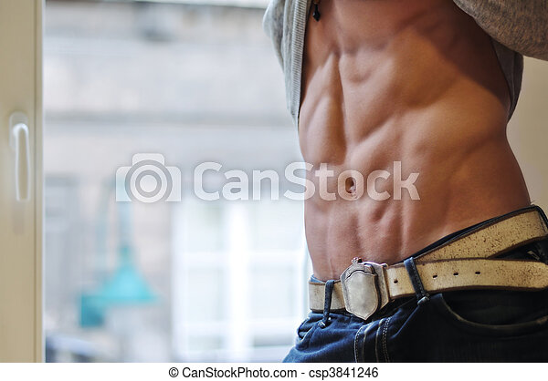Athletic man with six-pack - csp3841246