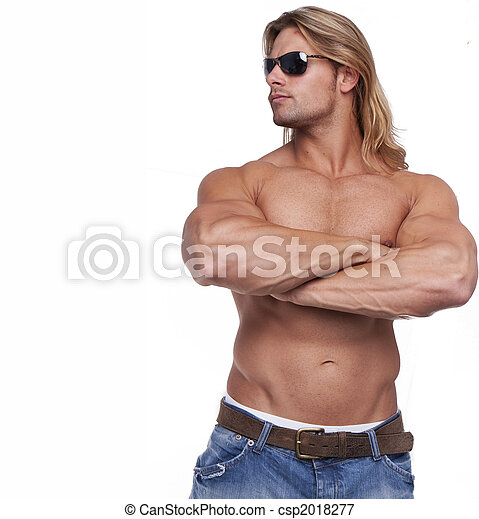 Athletic sexy male body builder with the blonde long hair. gladiator wearing sunglasses - csp2018277