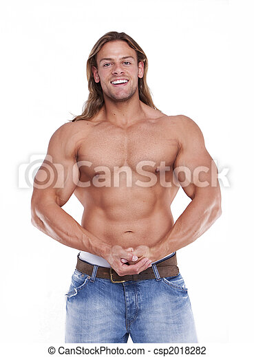 Athletic sexy male body builder with the blonde long hair. gladiator - csp2018282