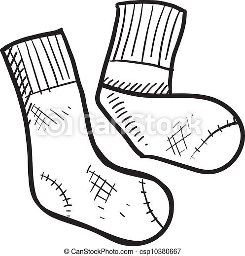 Athletic tube socks sketch - csp10380667