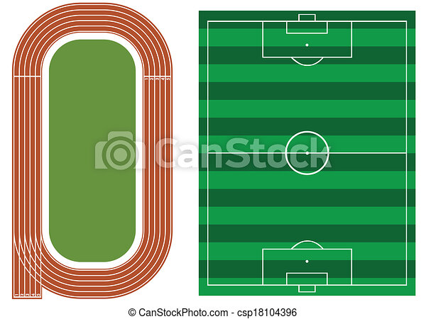 Athletics track with soccer field - csp18104396