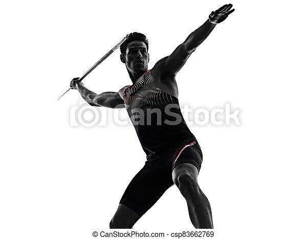 athletik, junger, hintergrund, freigestellt, mann, speerwerfen, athlet, weißes - csp83662769