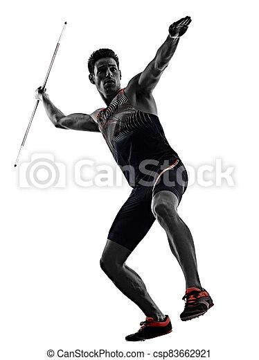 athletik, junger, hintergrund, freigestellt, mann, speerwerfen, athlet, weißes - csp83662921