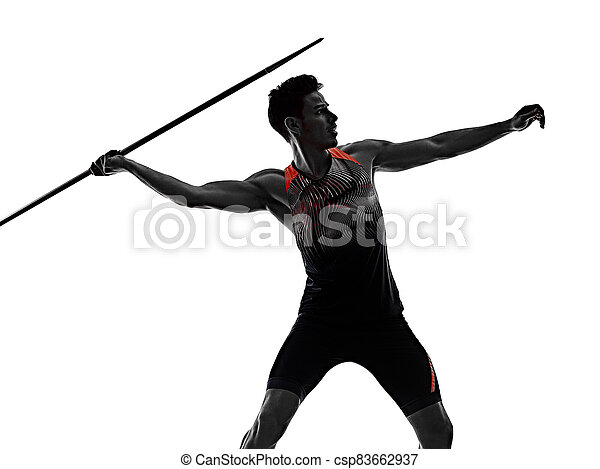 athletik, junger, hintergrund, freigestellt, mann, speerwerfen, athlet, weißes - csp83662937