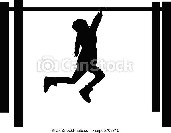 athletische, children., silhouette - csp65703710