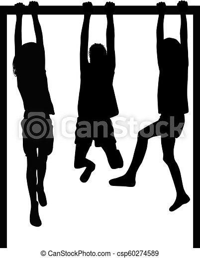 athletische, children., silhouetten - csp60274589