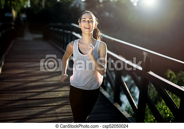 athletische, jogging, frau, natur - csp52050024