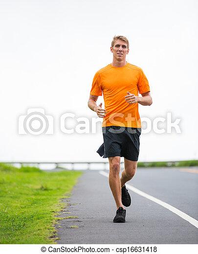 athletische, jogging, rennender , draußen, mann - csp16631418