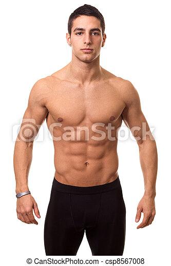 athletische, shirtless, mann - csp8567008