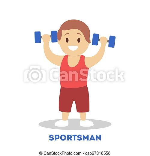 athletische, sportler, kind, starke , dumbbell., kind - csp67318558