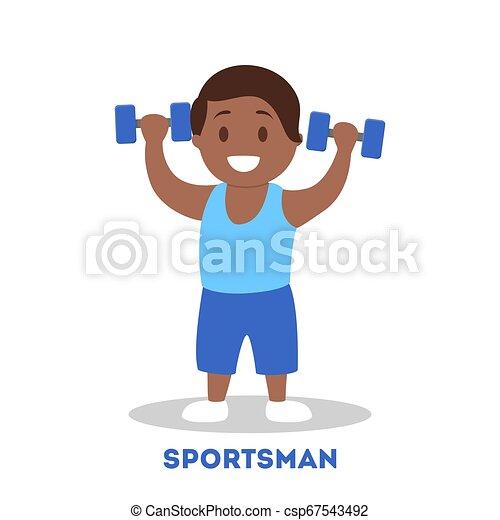 athletische, sportler, kind, starke , dumbbell., kind - csp67543492