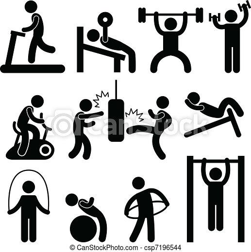 athletische, turnhalle, turnhalle, übung - csp7196544