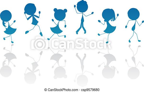 ativo, silueta, crianças, vara, caricatura - csp9579680